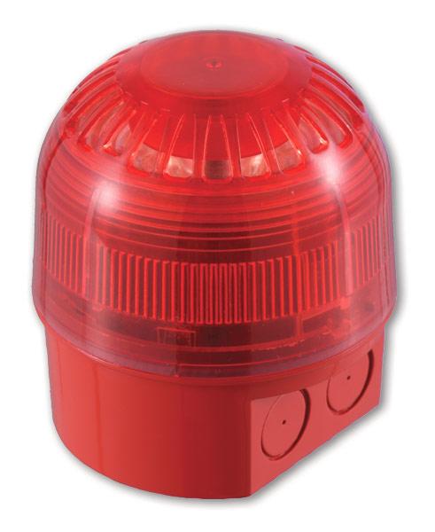 AS2367 – Sirena/lamp. ind. serie 2000 alim. dal loop, per est. – Rossa e con lenti rosse