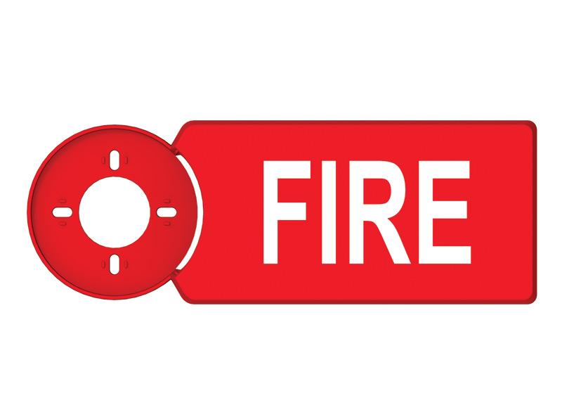 """AS36RIM – Targa di supporto per avvisatore ottico/acustico con pittogramma """"FIRE"""""""