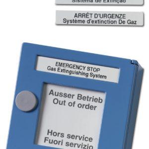 DM862-4 – Pulsante manuale blu di sospensione spegnimento in Italiano Spagnolo, Portoghese