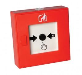DM865 – Pulsante manuale rosso di allarme incendio con resistenza da 100 ohm