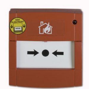 DMN700L – Pulsante rosso, mont. a muro, contatto libero e con R 560 Ohm, vetrino e LED
