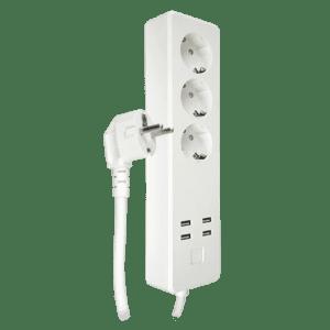 NVS-PWSTRIPF-W Multi Spina intelligente + 4 porte USB